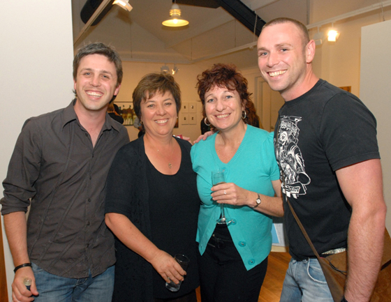 Curator Daniel Mudie Cunningham (L) and artist Drew Bickford with Julie and her partner Melissa Gibson at the opening of Bent Western at the Blacktown Arts Centre in February 2008