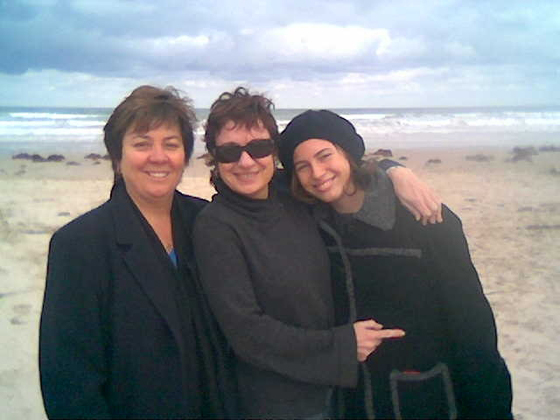 Photo of Julie, Melissa and Amelia on Goolwa Beach, June 2007