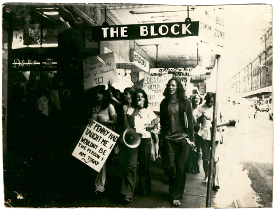 photo of Julie marching in support of Penny Short in 1974