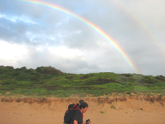 Photo of Julie with the Wild Women on a 25 km wet and wild walk from Narrabeen to Barrenjoey Lighthouse at Palm Beach on Sunday 2 March 2008